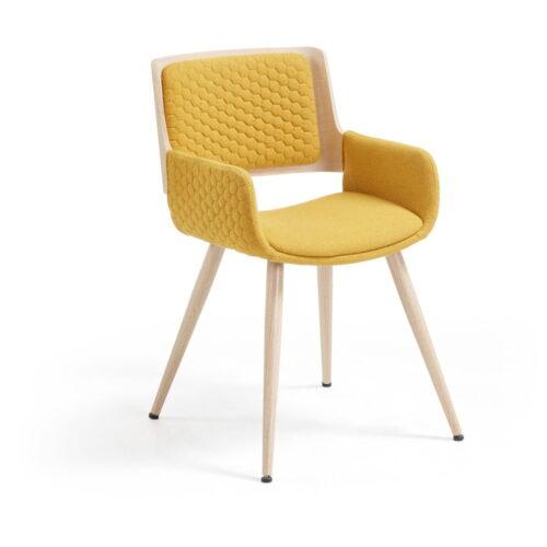 Scaun cu picioare și cotiere metalice La Forma Andre galben muștar