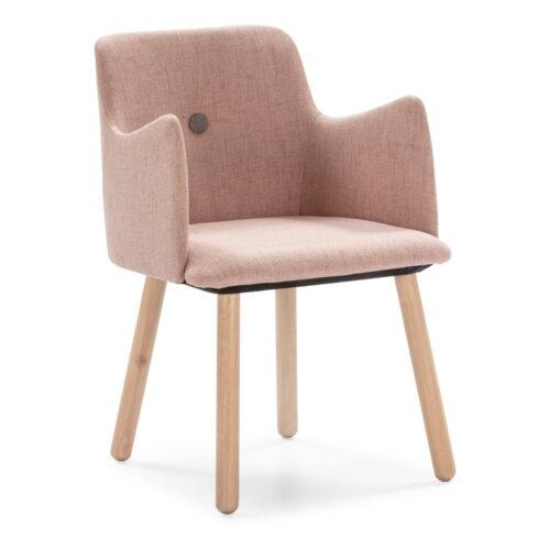 Scaun dining cu picioare din lemn de cauciuc Marckeric Aruba, roz